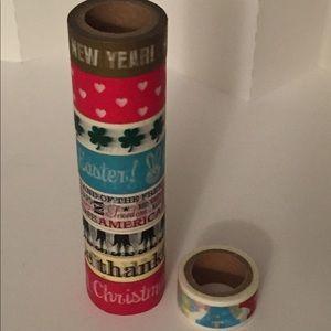 NEW 9x Washi Tapes Holidays full Year (9 Rolls)